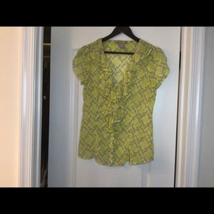 Line green and grey blouse
